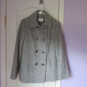 calvin klein gray wool blend double breast peacoat